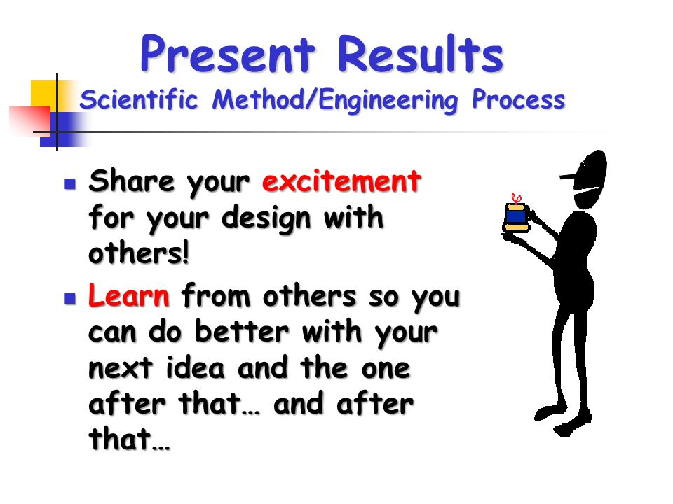 Present Results Scientific Method/Engineering Process Share your excitement for your design with others! Share your excitement for your design with ot