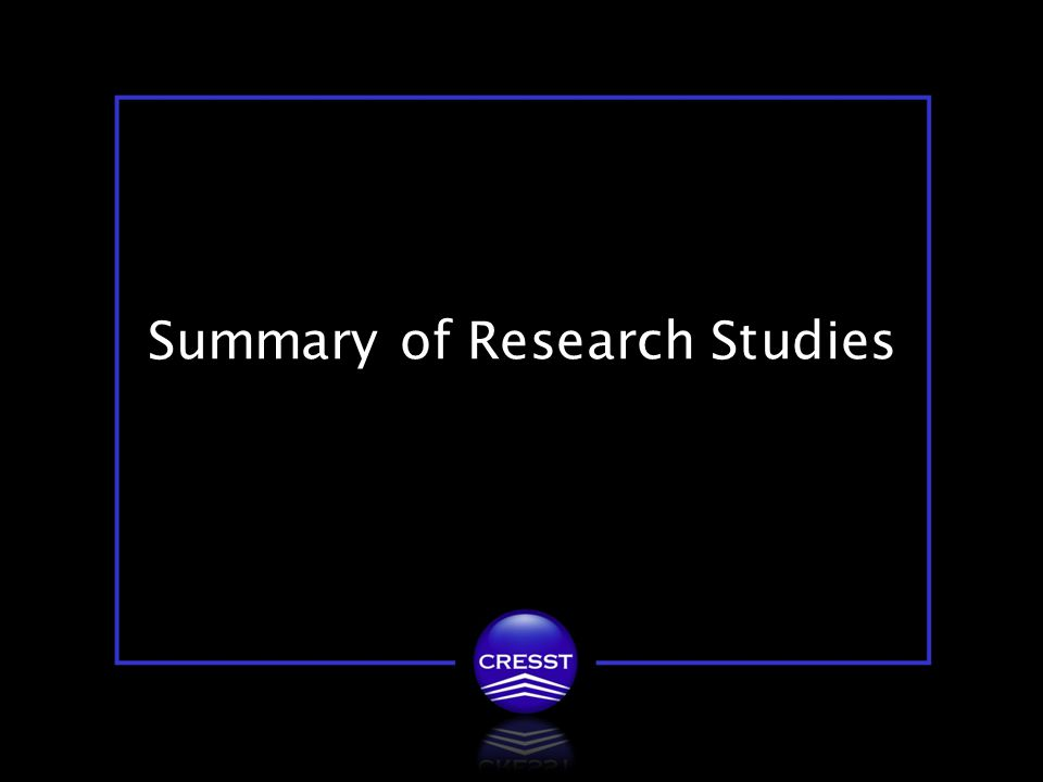 20 / 27 Summary of Research Studies