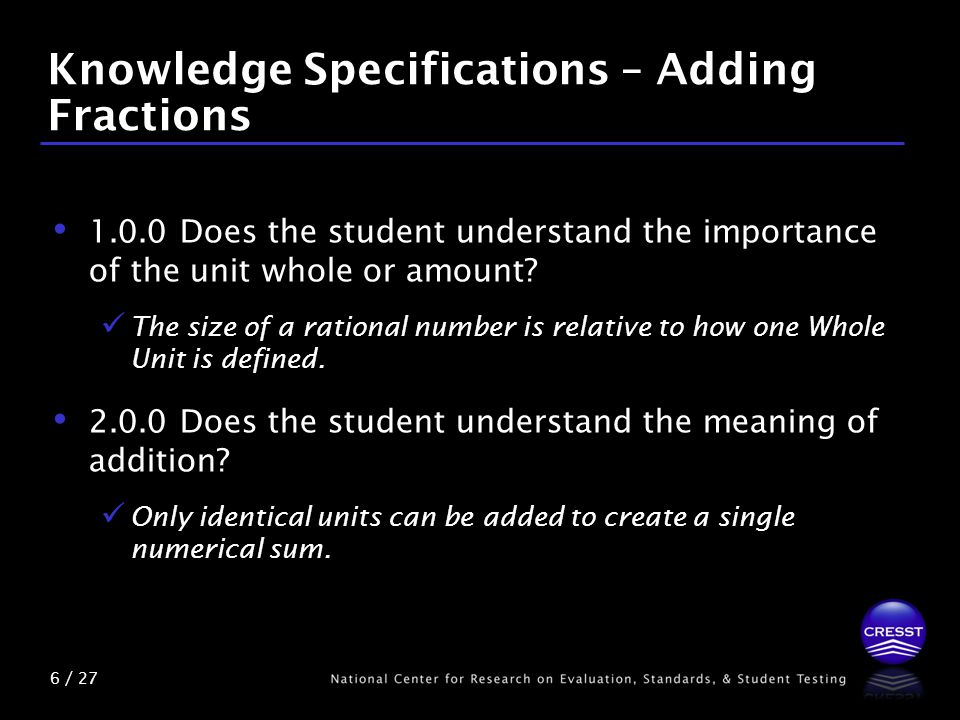 6 / 27 Knowledge Specifications – Adding Fractions 1.0.0 Does the student understand the importance of the unit whole or amount.