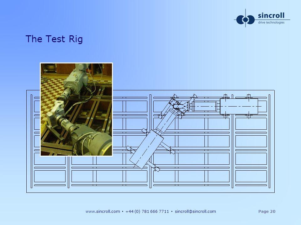 www.sincroll.com +44 (0) 781 666 7711 sincroll@sincroll.comPage 20 The Test Rig