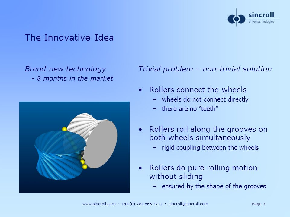 www.sincroll.com +44 (0) 781 666 7711 sincroll@sincroll.comPage 3 The Innovative Idea Brand new technology - 8 months in the market Trivial problem –