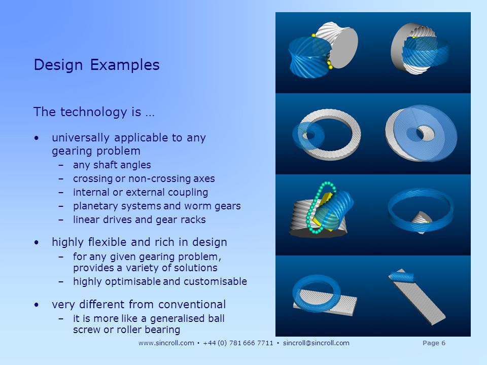 www.sincroll.com +44 (0) 781 666 7711 sincroll@sincroll.comPage 6 The technology is … universally applicable to any gearing problem –any shaft angles