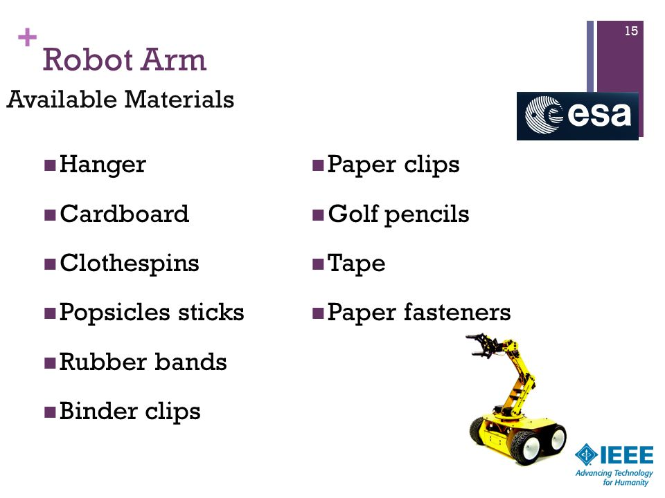 + Robot Arm Hanger Cardboard Clothespins Popsicles sticks Rubber bands Binder clips Paper clips Golf pencils Tape Paper fasteners 15 Available Materials