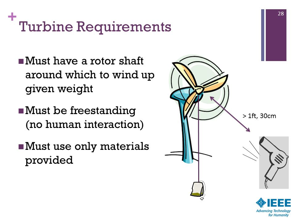 + Turbine Requirements Must have a rotor shaft around which to wind up given weight Must be freestanding (no human interaction) Must use only materials provided 28 > 1ft, 30cm