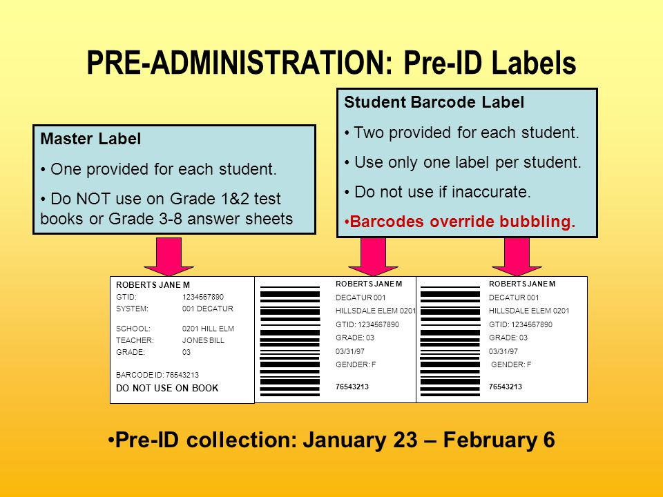 PRE-ADMINISTRATION: Pre-ID Labels ROBERTS JANE M DECATUR 001 HILLSDALE ELEM 0201 GTID: 1234567890 GRADE: 03 03/31/97 GENDER: F 76543213 ROBERTS JANE M DECATUR 001 HILLSDALE ELEM 0201 GTID: 1234567890 GRADE: 03 03/31/97 GENDER: F 76543213 ROBERTS JANE M GTID:1234567890 SYSTEM:001 DECATUR SCHOOL:0201 HILL ELM TEACHER:JONES BILL GRADE:03 BARCODE ID: 76543213 DO NOT USE ON BOOK Master Label One provided for each student.