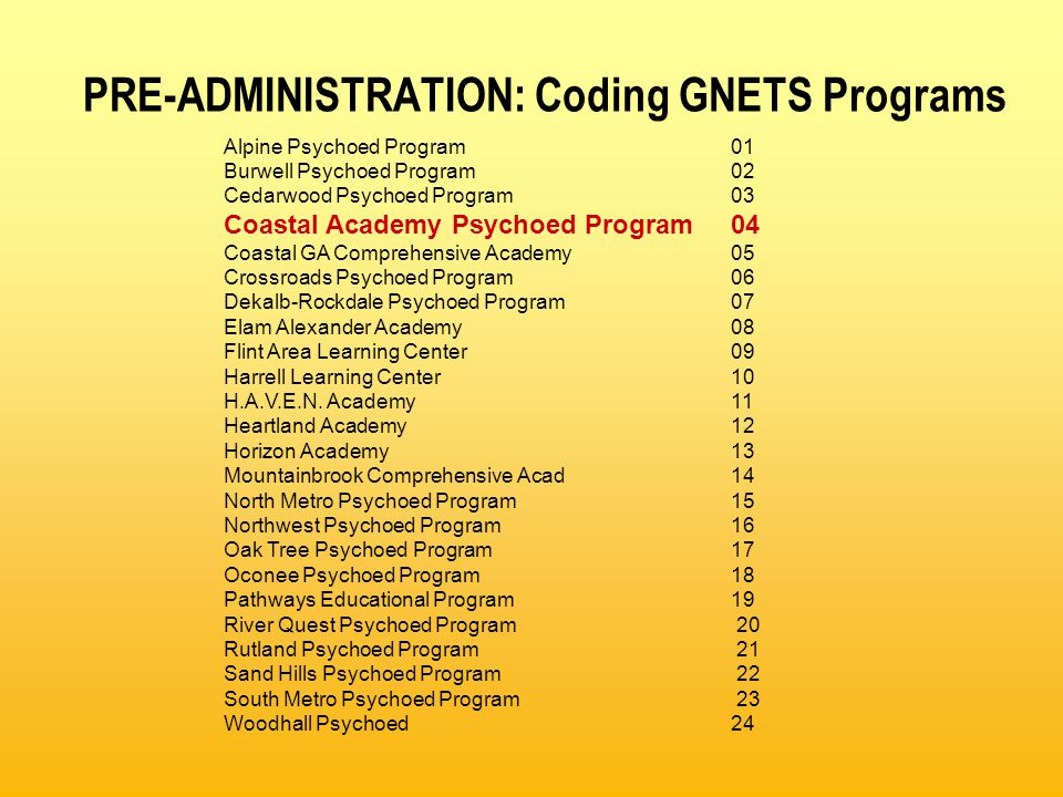 PRE-ADMINISTRATION: Coding GNETS Programs Alpine Psychoed Program01 Burwell Psychoed Program02 Cedarwood Psychoed Program 03 Coastal Academy Psychoed Program04 Coastal GA Comprehensive Academy05 Crossroads Psychoed Program06 Dekalb-Rockdale Psychoed Program07 Elam Alexander Academy08 Flint Area Learning Center09 Harrell Learning Center10 H.A.V.E.N.
