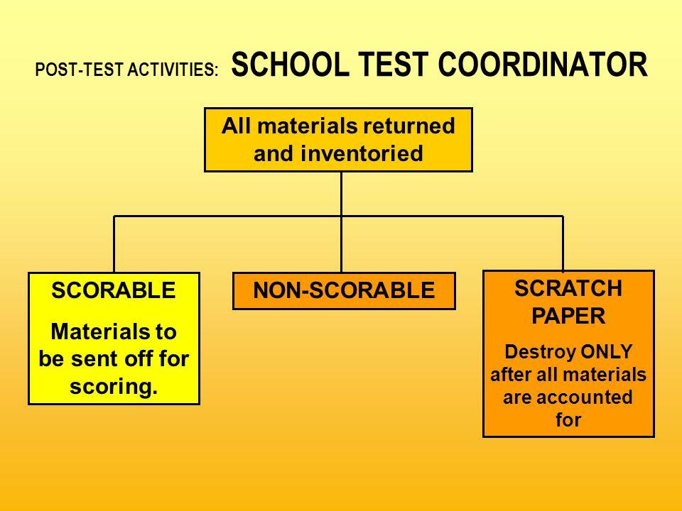 POST-TEST ACTIVITIES: SCHOOL TEST COORDINATOR SCORABLE Materials to be sent off for scoring.