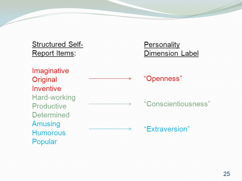 Structured Self- Report Items: Imaginative Original Inventive Hard-working Productive Determined Amusing Humorous Popular Openness Conscientiousness Extraversion Personality Dimension Label 25