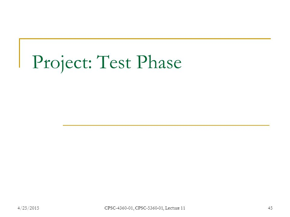 4/25/2015CPSC-4360-01, CPSC-5360-01, Lecture 1145 Project: Test Phase
