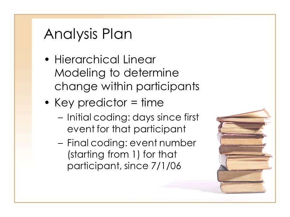 Analysis Plan Hierarchical Linear Modeling to determine change within participants Key predictor = time –Initial coding: days since first event for th