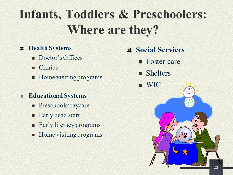 22 Infants, Toddlers & Preschoolers: Where are they? Health Systems Doctor's Offices Clinics Home visiting programs Educational Systems Preschools/day
