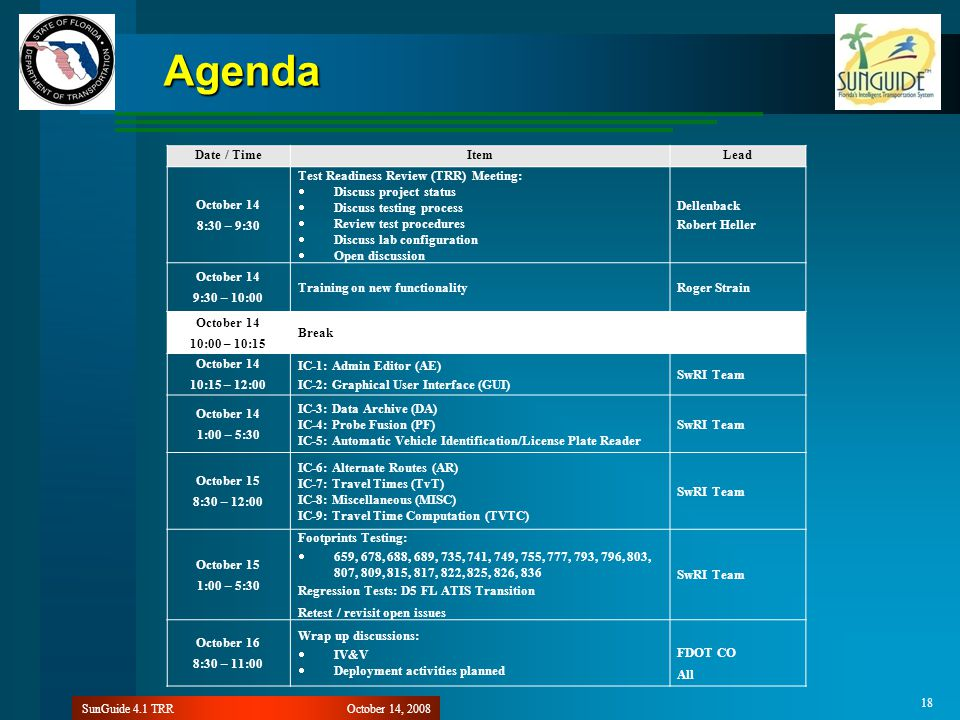 October 14, 2008SunGuide 4.1 TRR 18 Agenda Date / TimeItemLead October 14 8:30 – 9:30 Test Readiness Review (TRR) Meeting:  Discuss project status  Discuss testing process  Review test procedures  Discuss lab configuration  Open discussion Dellenback Robert Heller October 14 9:30 – 10:00 Training on new functionalityRoger Strain October 14 10:00 – 10:15 Break October 14 10:15 – 12:00 IC-1: Admin Editor (AE) IC-2: Graphical User Interface (GUI) SwRI Team October 14 1:00 – 5:30 IC-3: Data Archive (DA) IC-4: Probe Fusion (PF) IC-5: Automatic Vehicle Identification/License Plate Reader SwRI Team October 15 8:30 – 12:00 IC-6: Alternate Routes (AR) IC-7: Travel Times (TvT) IC-8: Miscellaneous (MISC) IC-9: Travel Time Computation (TVTC) SwRI Team October 15 1:00 – 5:30 Footprints Testing:  659, 678, 688, 689, 735, 741, 749, 755, 777, 793, 796, 803, 807, 809, 815, 817, 822, 825, 826, 836 Regression Tests: D5 FL ATIS Transition Retest / revisit open issues SwRI Team October 16 8:30 – 11:00 Wrap up discussions:  IV&V  Deployment activities planned FDOT CO All