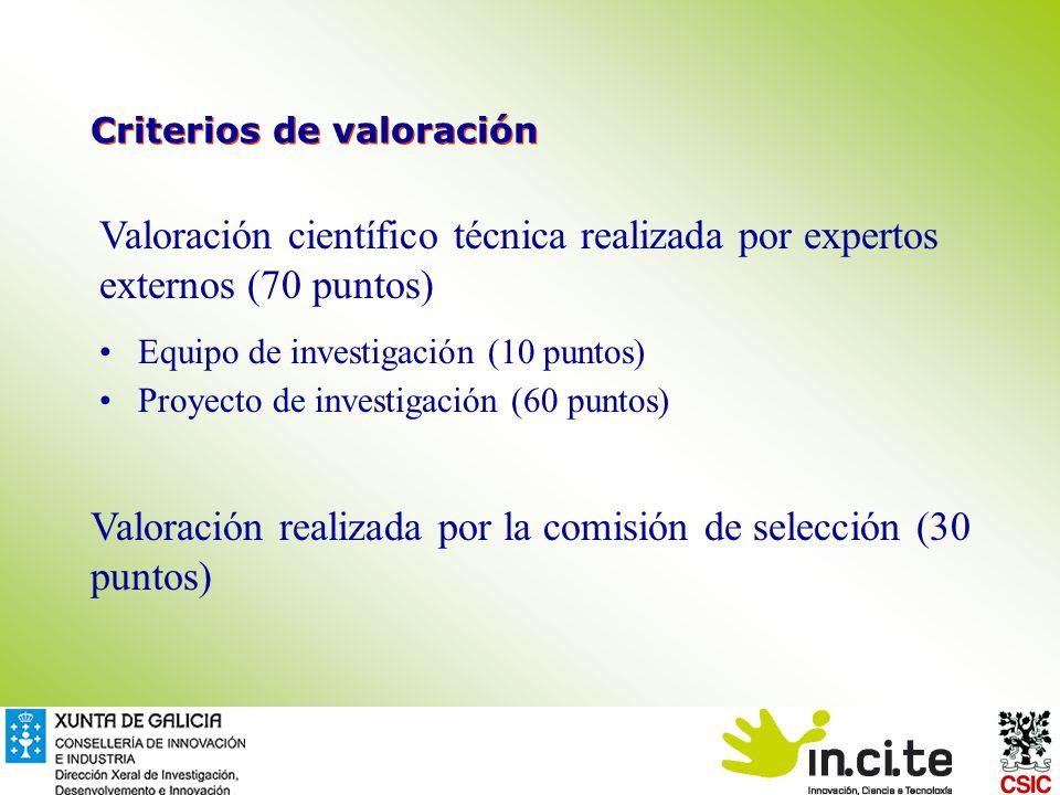 Criterios de valoración Valoración científico técnica realizada por expertos externos (70 puntos) Equipo de investigación (10 puntos) Proyecto de investigación (60 puntos) Valoración realizada por la comisión de selección (30 puntos)