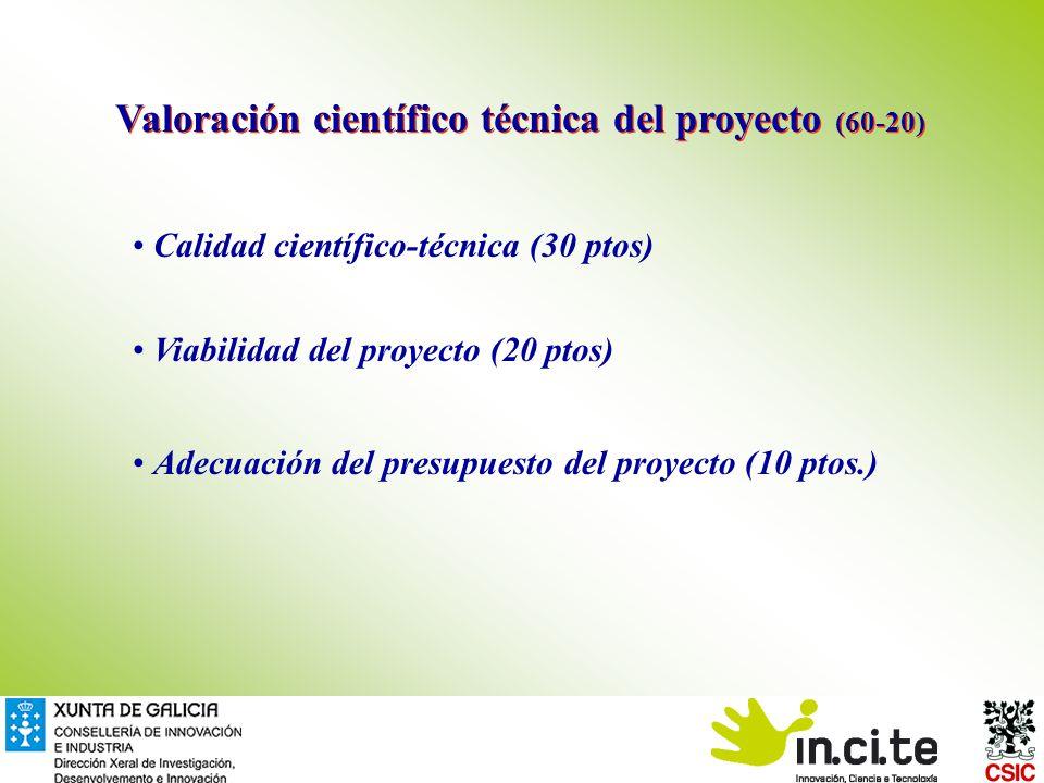 Valoración científico técnica del proyecto (60-20) Calidad científico-técnica (30 ptos) Viabilidad del proyecto (20 ptos) Adecuación del presupuesto del proyecto (10 ptos.)