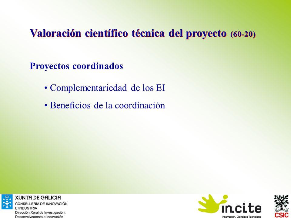 Proyectos coordinados Complementariedad de los EI Beneficios de la coordinación Valoración científico técnica del proyecto (60-20)