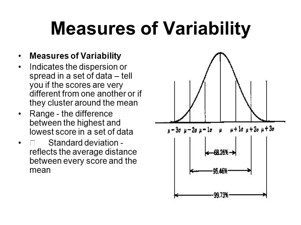Measures of Variability Indicates the dispersion or spread in a set of data – tell you if the scores are very different from one another or if they cluster around the mean Range - the difference between the highest and lowest score in a set of data ŸStandard deviation - reflects the average distance between every score and the mean