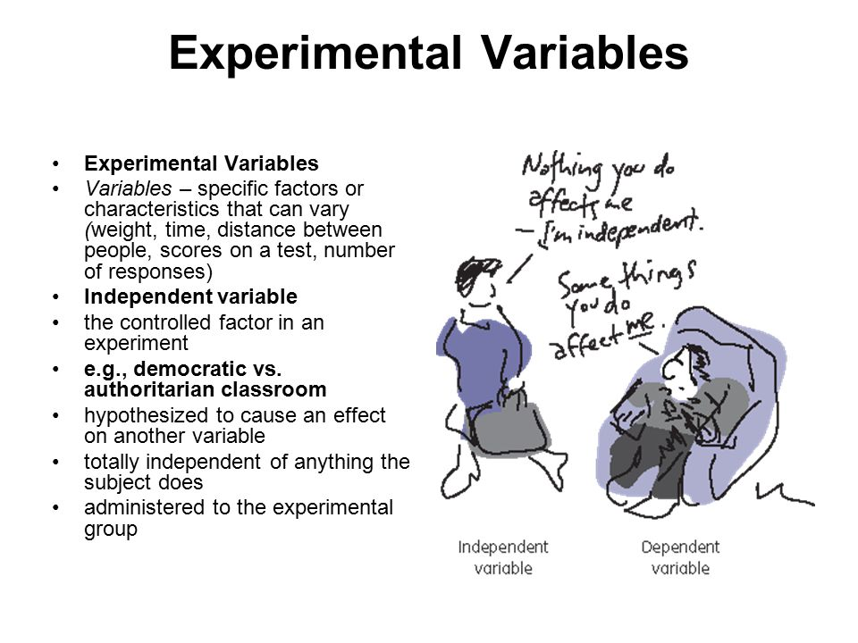 Experimental Variables Variables – specific factors or characteristics that can vary (weight, time, distance between people, scores on a test, number of responses) Independent variable the controlled factor in an experiment e.g., democratic vs.