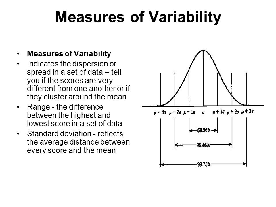 Measures of Variability Indicates the dispersion or spread in a set of data – tell you if the scores are very different from one another or if they cluster around the mean Range - the difference between the highest and lowest score in a set of data Standard deviation - reflects the average distance between every score and the mean