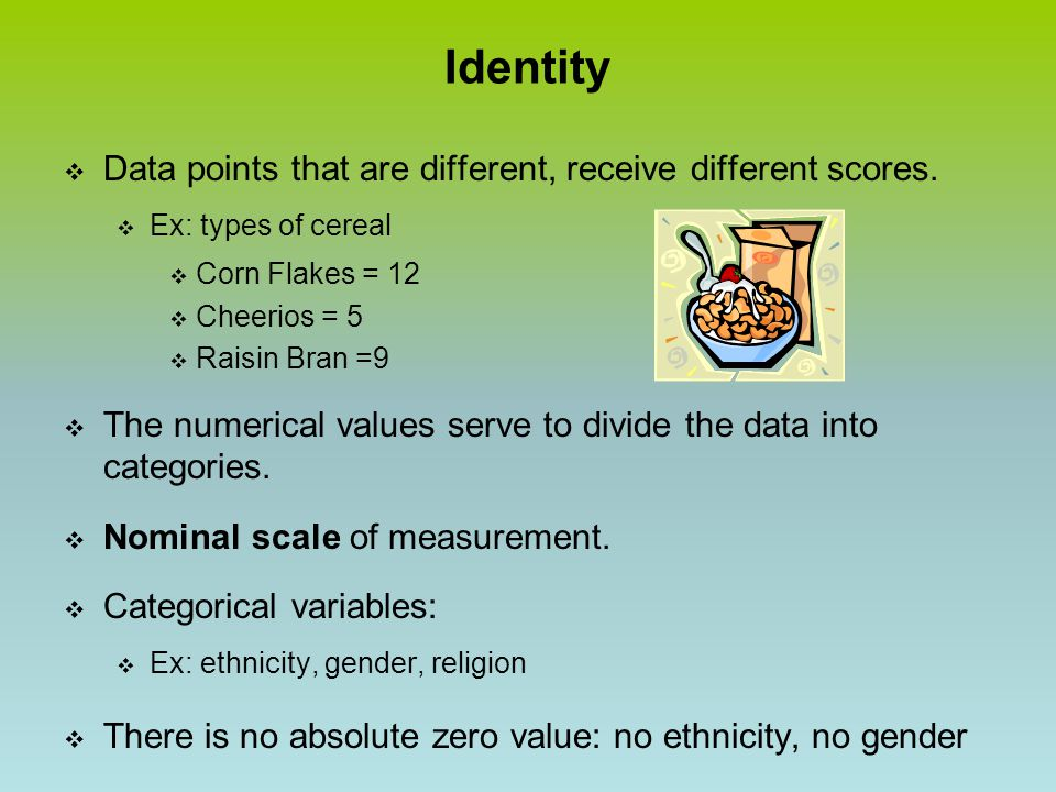 Identity  Data points that are different, receive different scores.