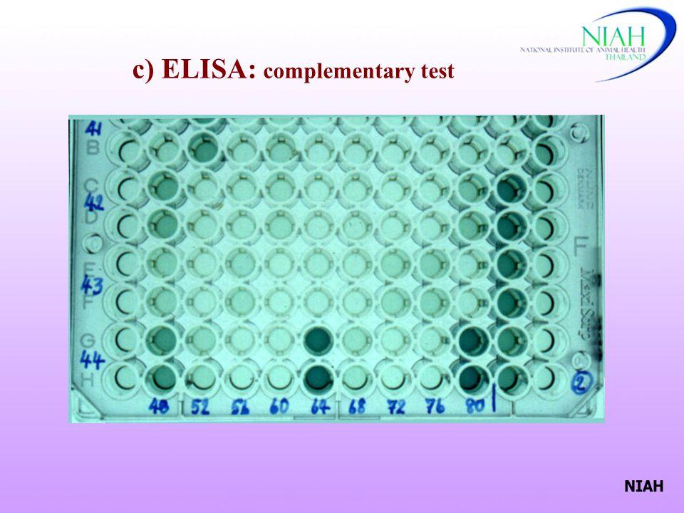 NIAH c) ELISA: complementary test