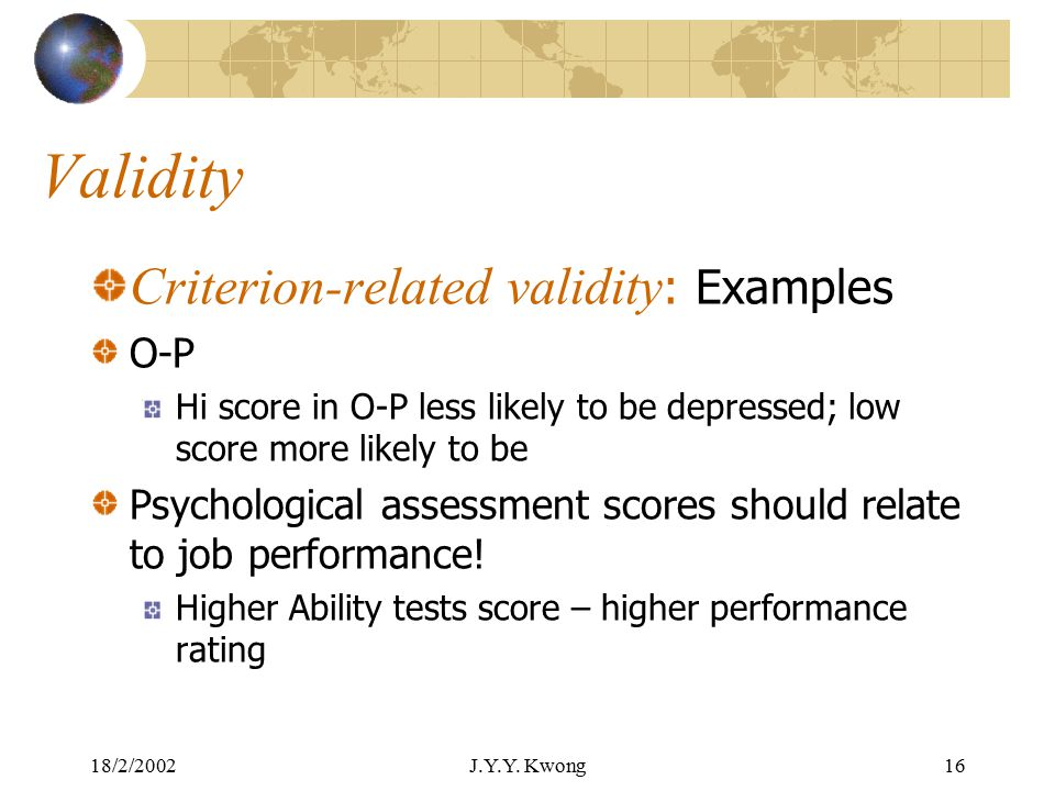 18/2/2002J.Y.Y. Kwong15 Validity Criterion-related validity : IQ test score relates to academic performance, speed of learning new words Standford Bin