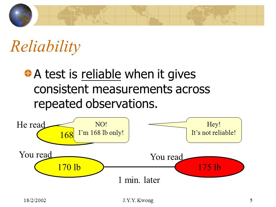 18/2/2002J.Y.Y. Kwong4 A scientific way to evaluate a test: A good test should demonstrate: High reliability Evidence for its validity