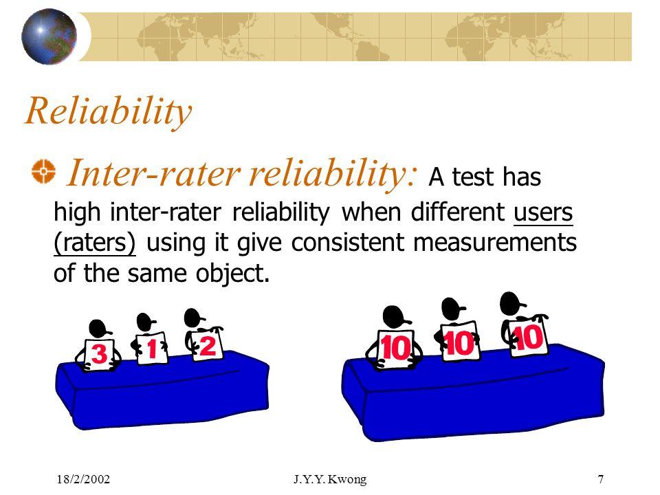 18/2/2002J.Y.Y. Kwong6 Reliability Test-retest reliability: A test has high test-retest reliability when it gives consistent measurement across times.