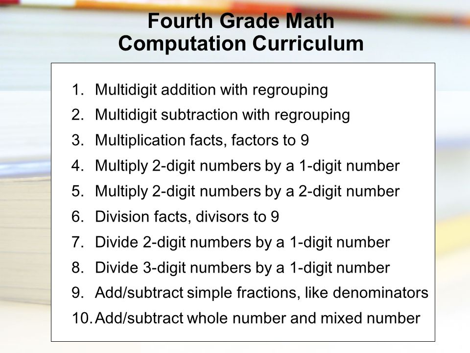 1.Multidigit addition with regrouping 2.Multidigit subtraction with regrouping 3.Multiplication facts, factors to 9 4.Multiply 2-digit numbers by a 1-
