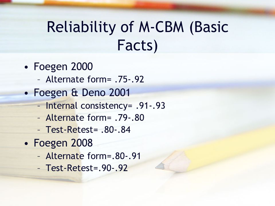 Reliability of M-CBM (Basic Facts) Foegen 2000 –Alternate form=.75-.92 Foegen & Deno 2001 –Internal consistency=.91-.93 –Alternate form=.79-.80 –Test-