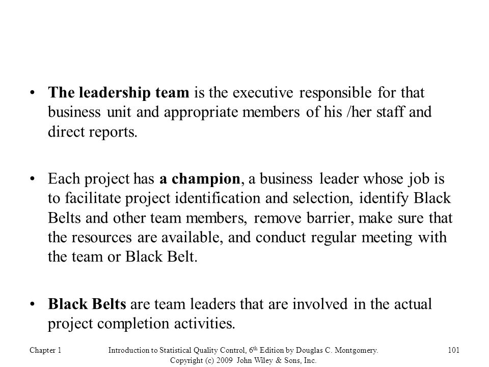 The leadership team is the executive responsible for that business unit and appropriate members of his /her staff and direct reports.