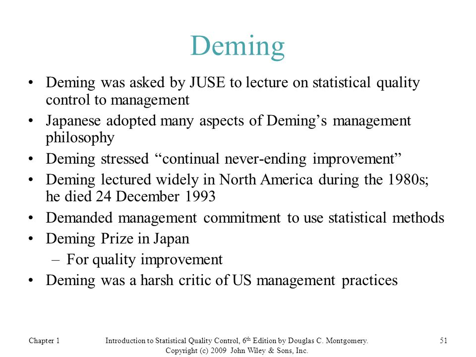 Chapter 151Introduction to Statistical Quality Control, 6 th Edition by Douglas C.