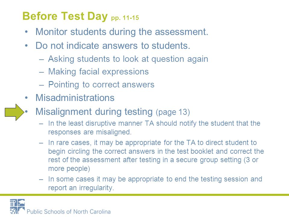 Before Test Day pp. 11-15 Monitor students during the assessment. Do not indicate answers to students. –Asking students to look at question again –Mak
