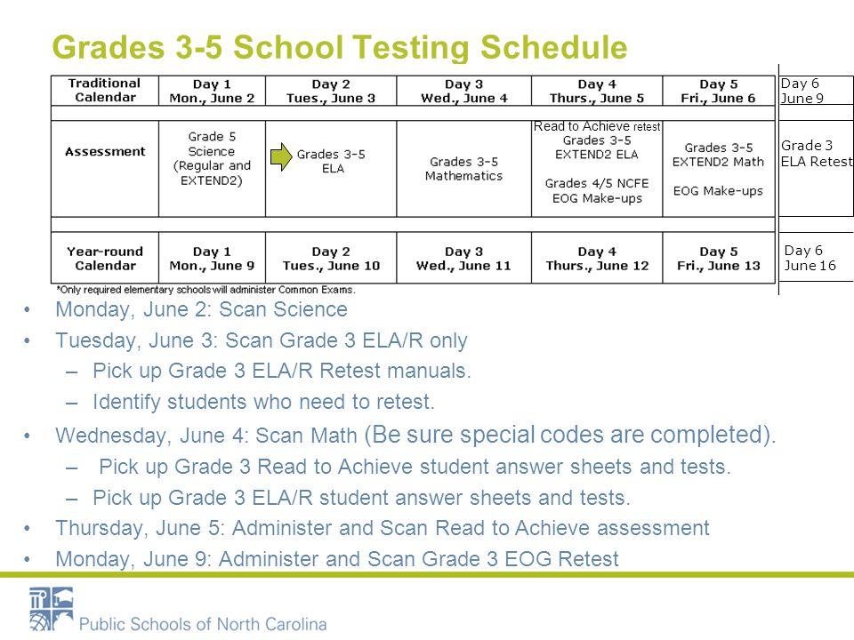 Grades 3-5 School Testing Schedule Monday, June 2: Scan Science Tuesday, June 3: Scan Grade 3 ELA/R only –Pick up Grade 3 ELA/R Retest manuals. –Ident