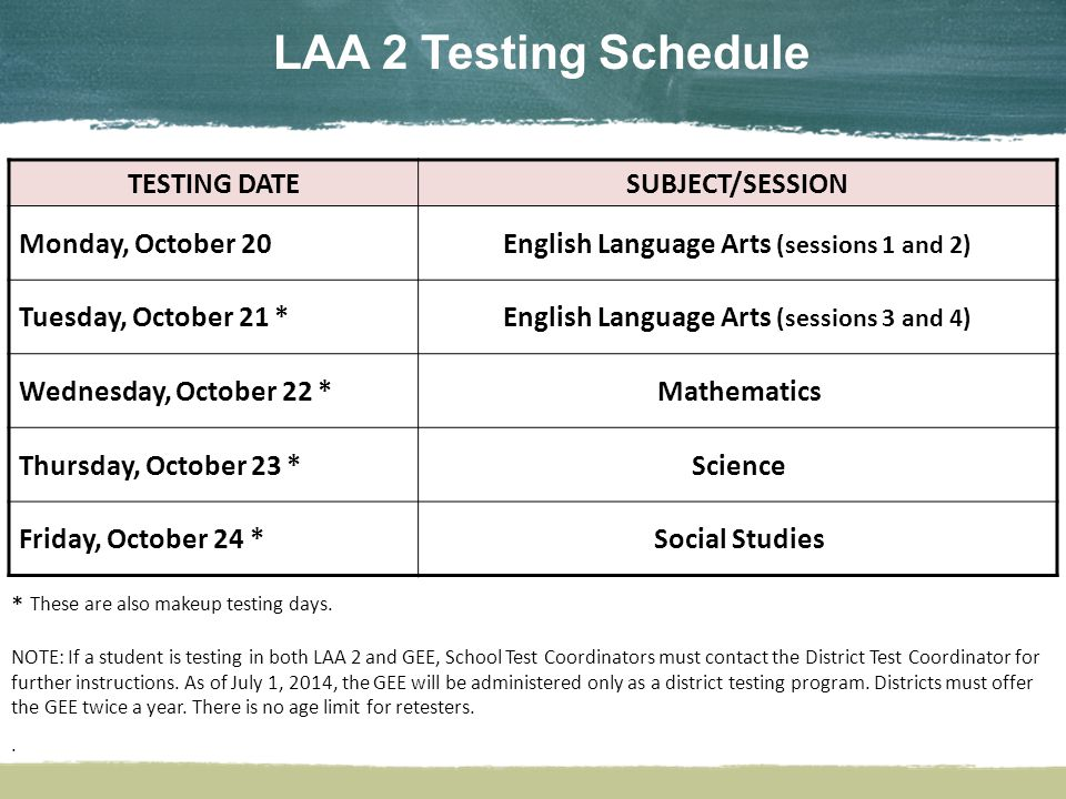 LAA 2 Testing Schedule TESTING DATESUBJECT/SESSION Monday, October 20English Language Arts (sessions 1 and 2) Tuesday, October 21 *English Language Arts (sessions 3 and 4) Wednesday, October 22 *Mathematics Thursday, October 23 *Science Friday, October 24 *Social Studies * These are also makeup testing days.