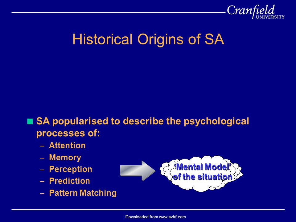Downloaded from www.avhf.com  SA popularised to describe the psychological processes of: –Attention –Memory –Perception –Prediction –Pattern Matching Historical Origins of SA 'Mental Model' of the situation