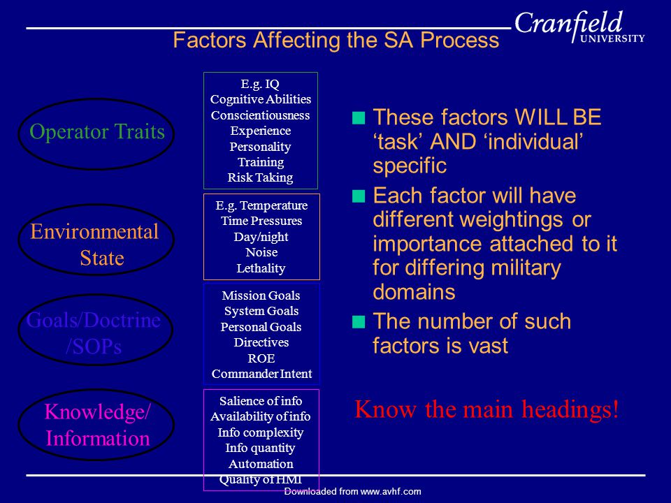Downloaded from www.avhf.com  These factors WILL BE 'task' AND 'individual' specific  Each factor will have different weightings or importance attac