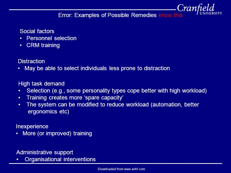 Downloaded from www.avhf.com Error: Examples of Possible Remedies know this Administrative support Organisational interventions Inexperience More (or improved) training High task demand Selection (e.g., some personality types cope better with high workload) Training creates more 'spare capacity' The system can be modified to reduce workload (automation, better ergonomics etc) Distraction May be able to select individuals less prone to distraction Social factors Personnel selection CRM training