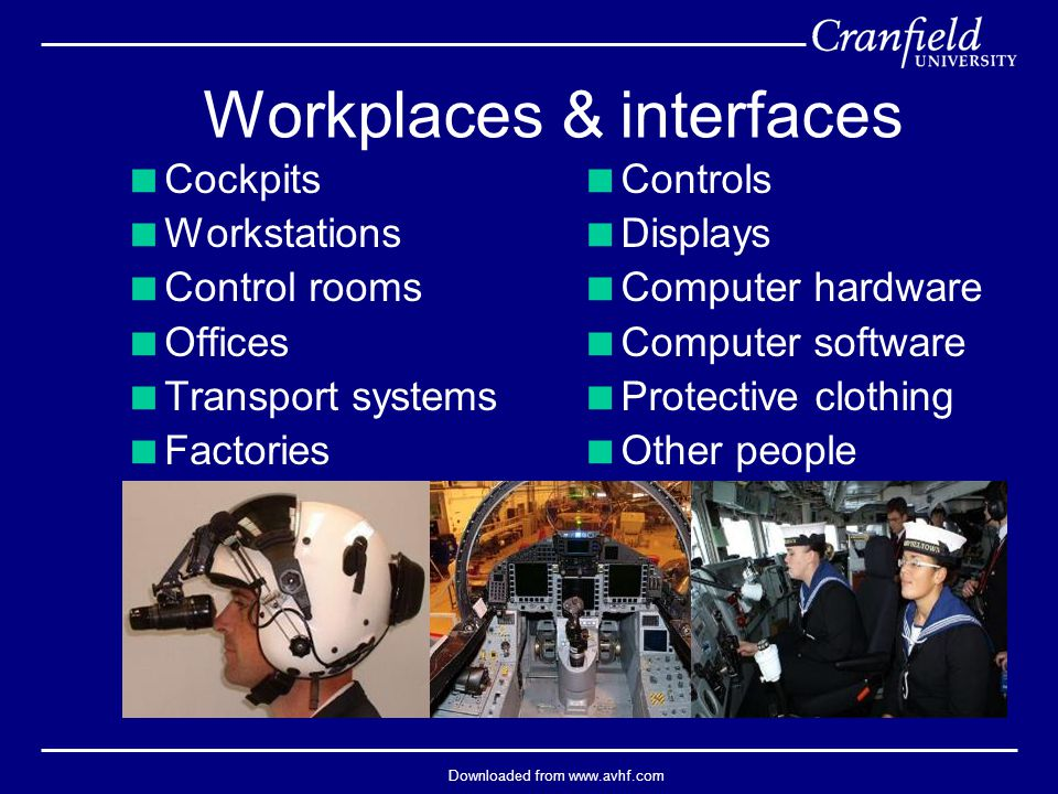 Downloaded from www.avhf.com Workplaces & interfaces  Cockpits  Workstations  Control rooms  Offices  Transport systems  Factories  Controls  Displays  Computer hardware  Computer software  Protective clothing  Other people
