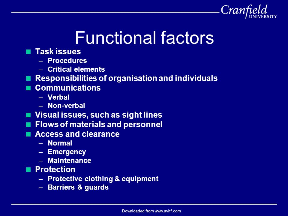 Downloaded from www.avhf.com Functional factors  Task issues –Procedures –Critical elements  Responsibilities of organisation and individuals  Comm