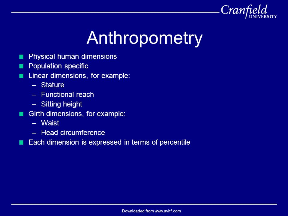 Downloaded from www.avhf.com Anthropometry  Physical human dimensions  Population specific  Linear dimensions, for example: –Stature –Functional re
