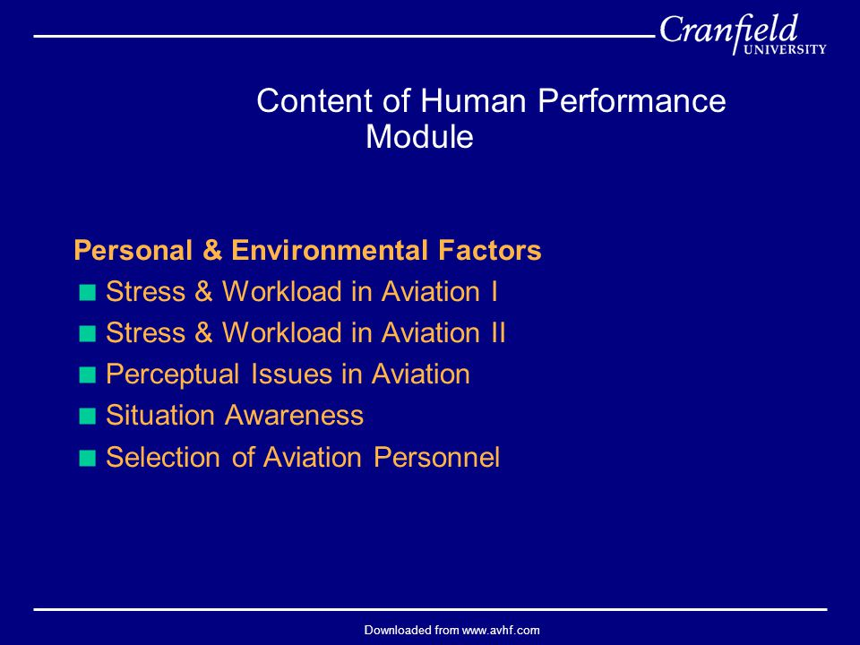 Downloaded from www.avhf.com  CRM training resources –Self-study –Classroom awareness training –Modelling –Classroom skills training –Skills practice in simulators –Practice/coaching during flying CRM Training