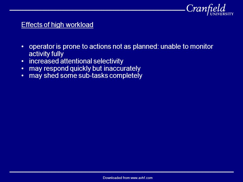 Downloaded from www.avhf.com Effects of high workload operator is prone to actions not as planned: unable to monitor activity fully increased attentional selectivity may respond quickly but inaccurately may shed some sub-tasks completely