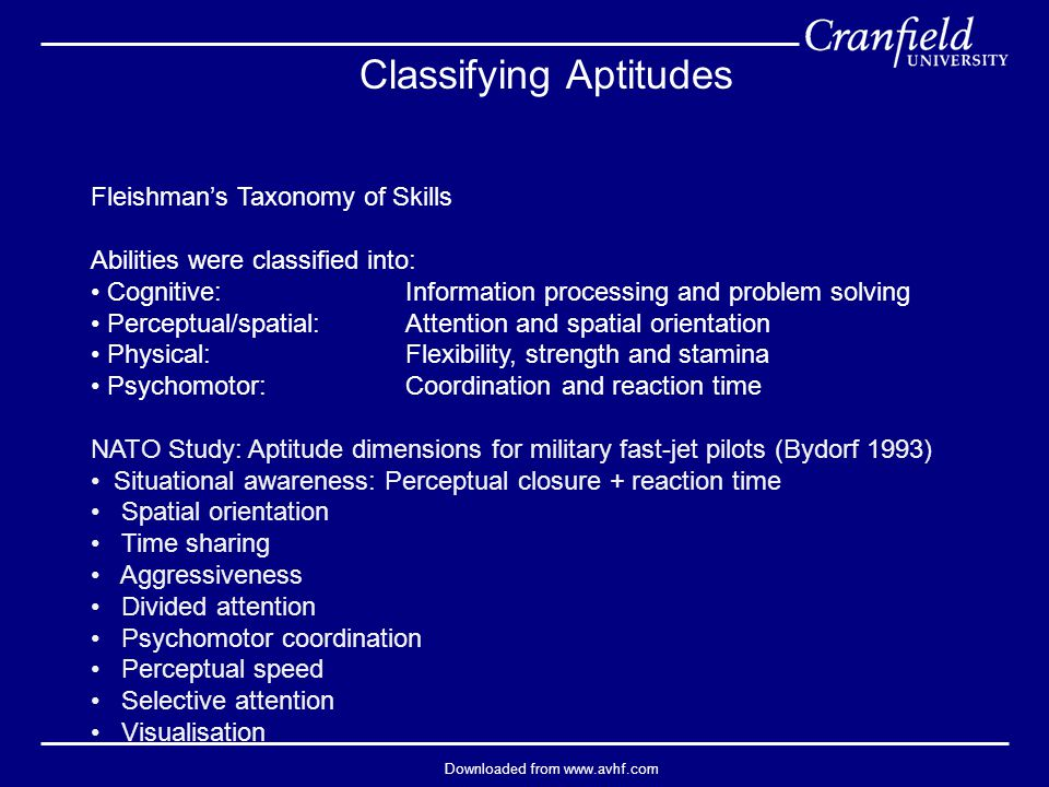 Downloaded from www.avhf.com Classifying Aptitudes Fleishman's Taxonomy of Skills Abilities were classified into: Cognitive: Information processing and problem solving Perceptual/spatial: Attention and spatial orientation Physical: Flexibility, strength and stamina Psychomotor: Coordination and reaction time NATO Study: Aptitude dimensions for military fast-jet pilots (Bydorf 1993) Situational awareness: Perceptual closure + reaction time Spatial orientation Time sharing Aggressiveness Divided attention Psychomotor coordination Perceptual speed Selective attention Visualisation