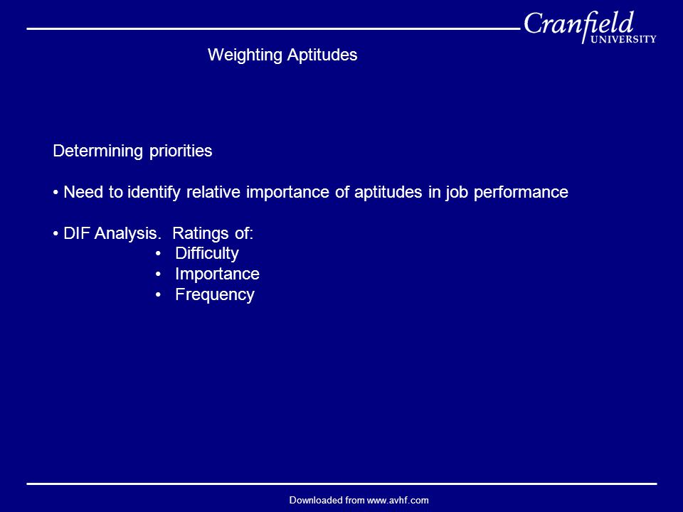 Downloaded from www.avhf.com Weighting Aptitudes Determining priorities Need to identify relative importance of aptitudes in job performance DIF Analysis.