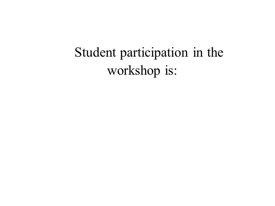 Student participation in the workshop is: