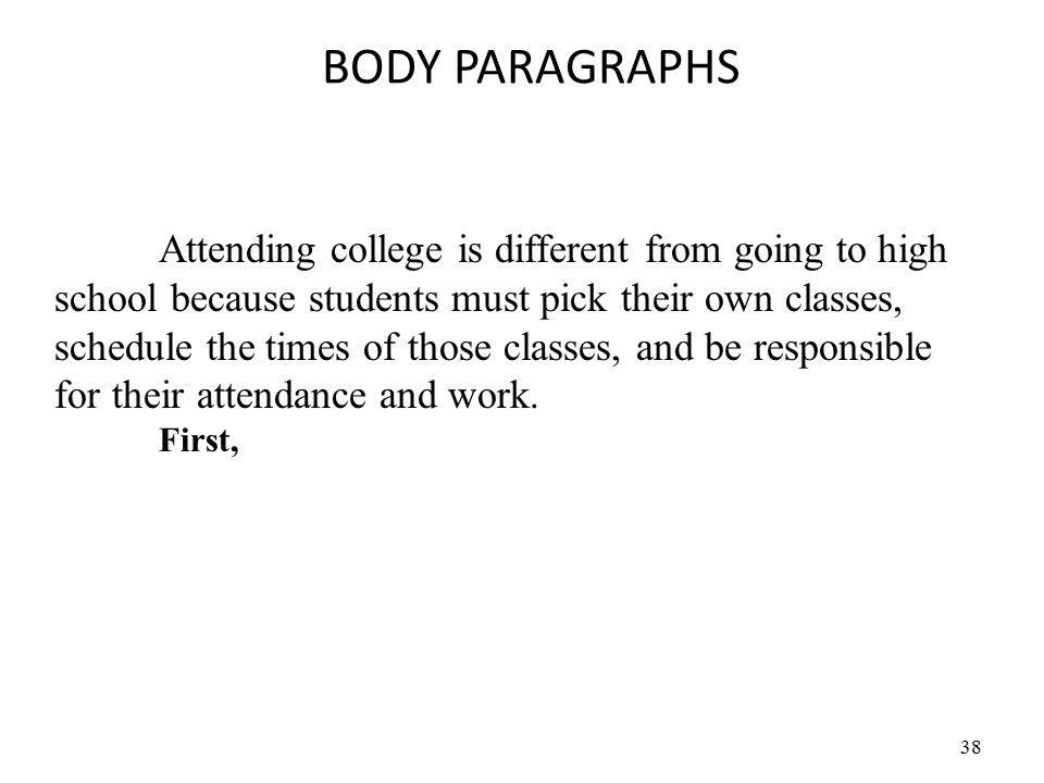 38 BODY PARAGRAPHS Attending college is different from going to high school because students must pick their own classes, schedule the times of those