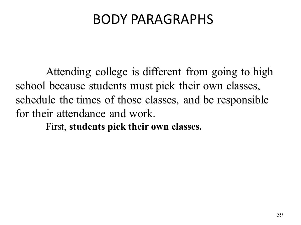 39 BODY PARAGRAPHS Attending college is different from going to high school because students must pick their own classes, schedule the times of those