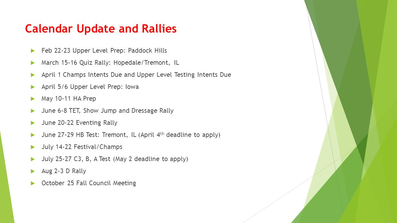 Calendar Update and Rallies  Feb 22-23 Upper Level Prep: Paddock Hills  March 15-16 Quiz Rally: Hopedale/Tremont, IL  April 1 Champs Intents Due an