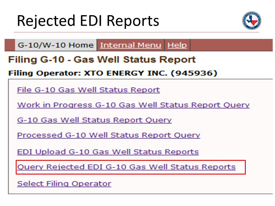 Rejected EDI Reports