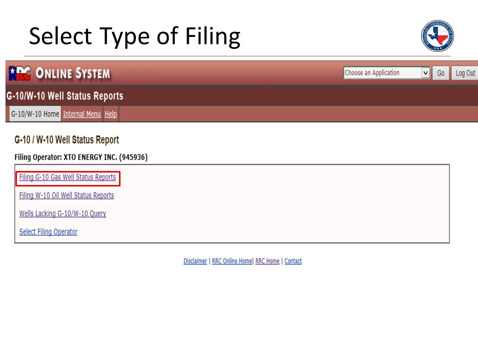 Select Type of Filing